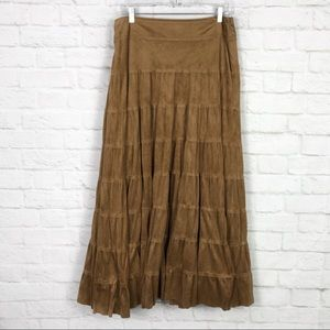Tribal Boho FauxSuede Brown Tiered Gypsy MaxiSkirt